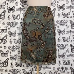 Brown and Green Paisley Skirt Size 6